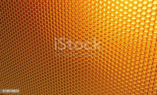 istock Macro, honeycomb. Background of orange, yellow hexagons 919978820