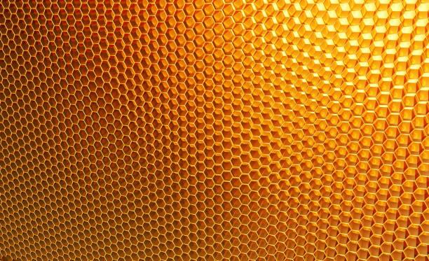 macro, honeycomb. background of orange, yellow hexagons - honeycomb imagens e fotografias de stock