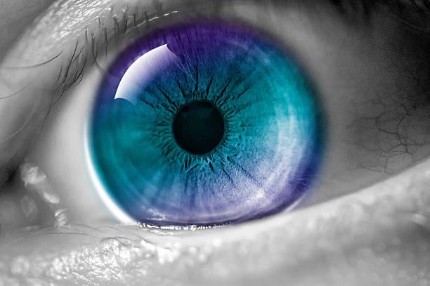 makro menschliche auge-regenbogen-iris - illustration optician stock-fotos und bilder