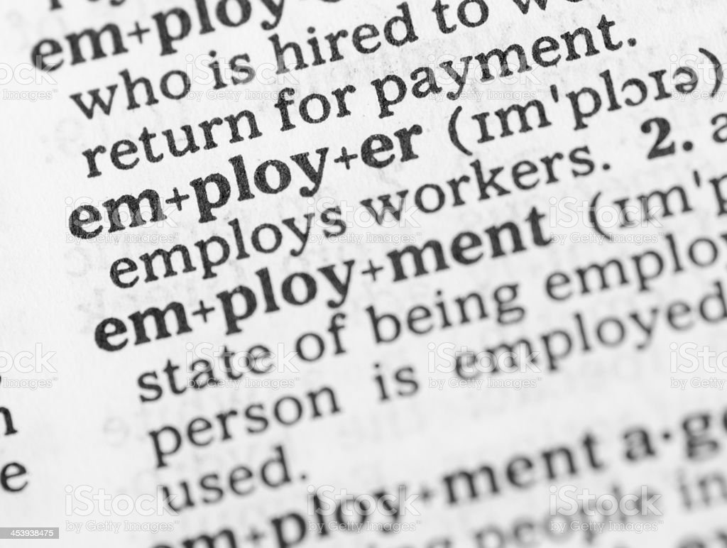 Macro image dictionary definition of employment royalty-free stock photo