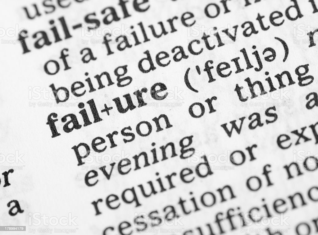 Macro image dictionary definition of failure royalty-free stock photo
