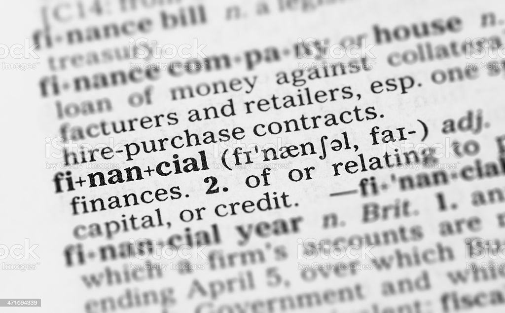Macro image dictionary definition of financial royalty-free stock photo