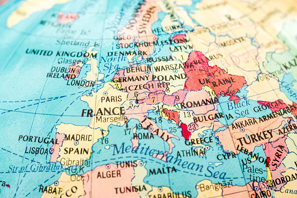 macro image of a map of europe - europe map stock photos and pictures