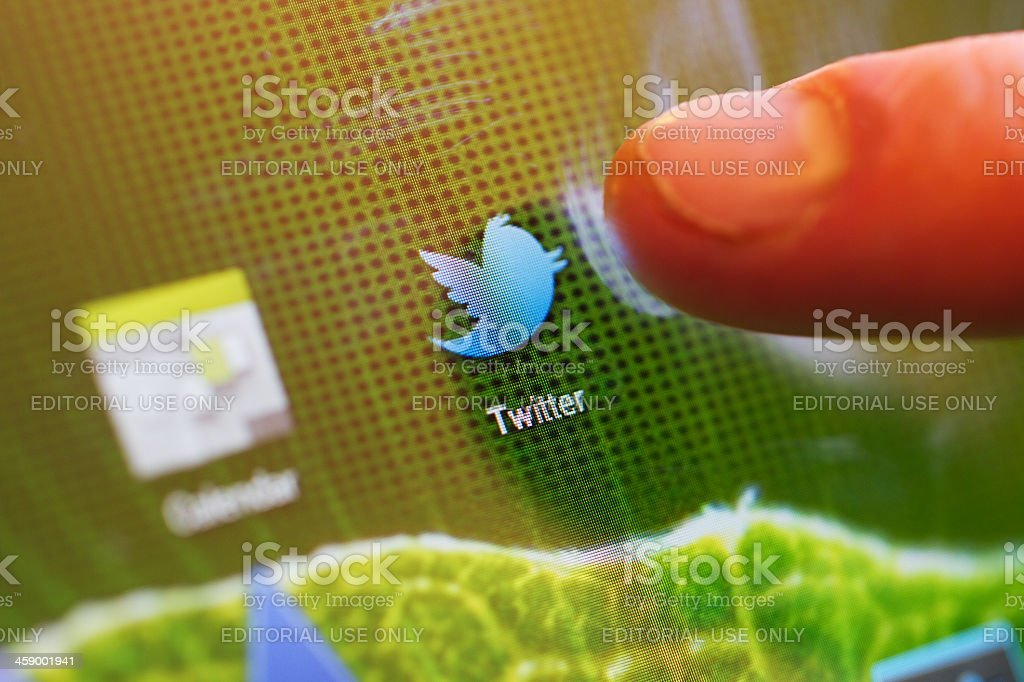 Macro image of clicking the Twitter icon royalty-free stock photo