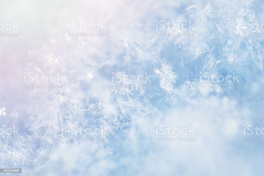 Macro image of snowflakes.