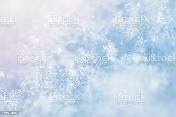 Photo of Macro image of snowflakes.