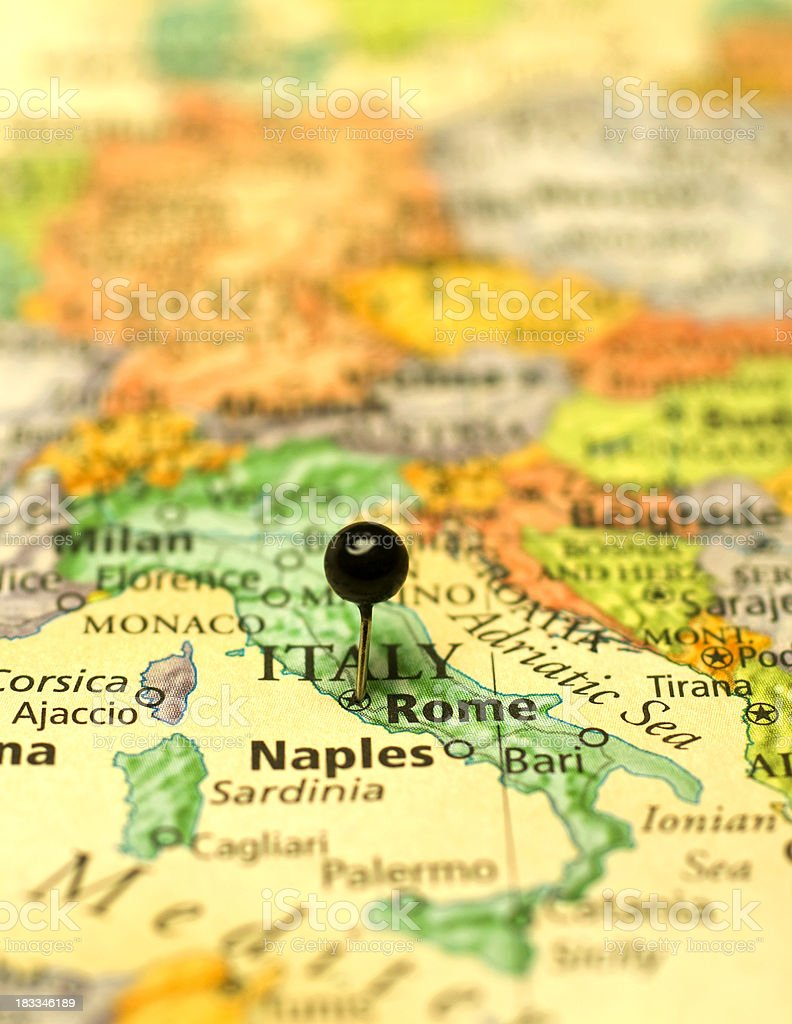 Macro Map Of Italy And Surrounding European Countries Stock Photo