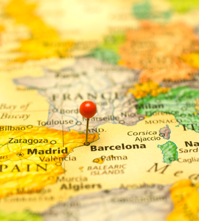 Map Of Spain And North Africa.Macro Map Of Spain France And North Africa Stock Photo Download