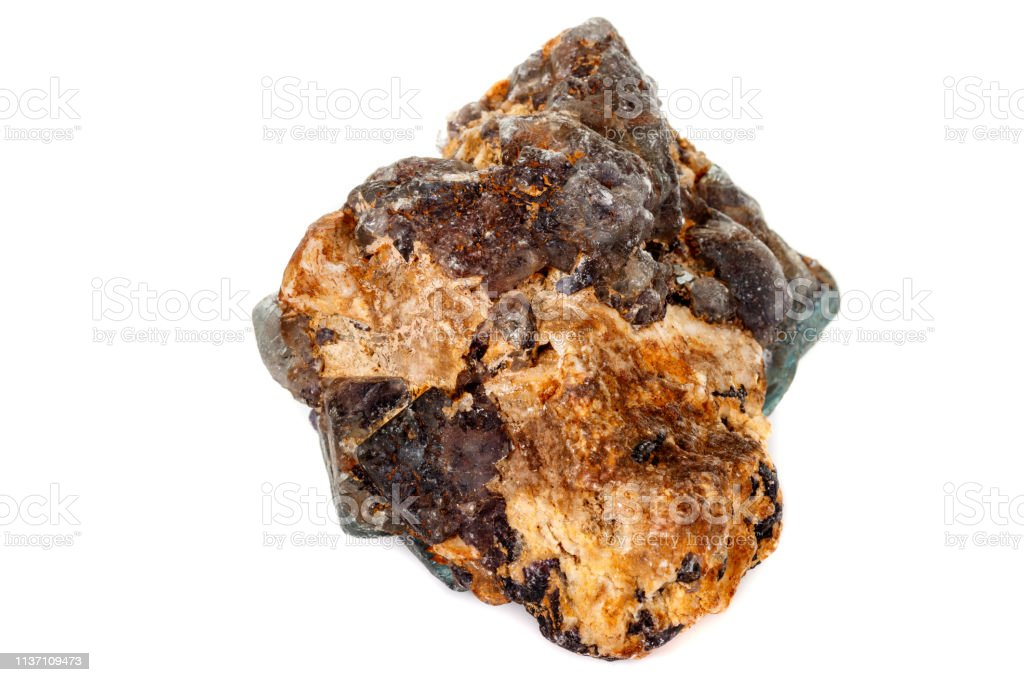macro mineral fluorite stone on white background стоковое фото
