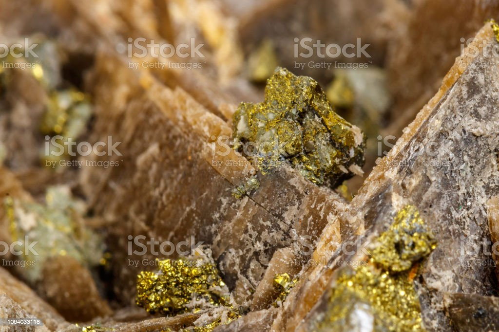 Macro mineral stone Barit Pyrit on a white background stock photo