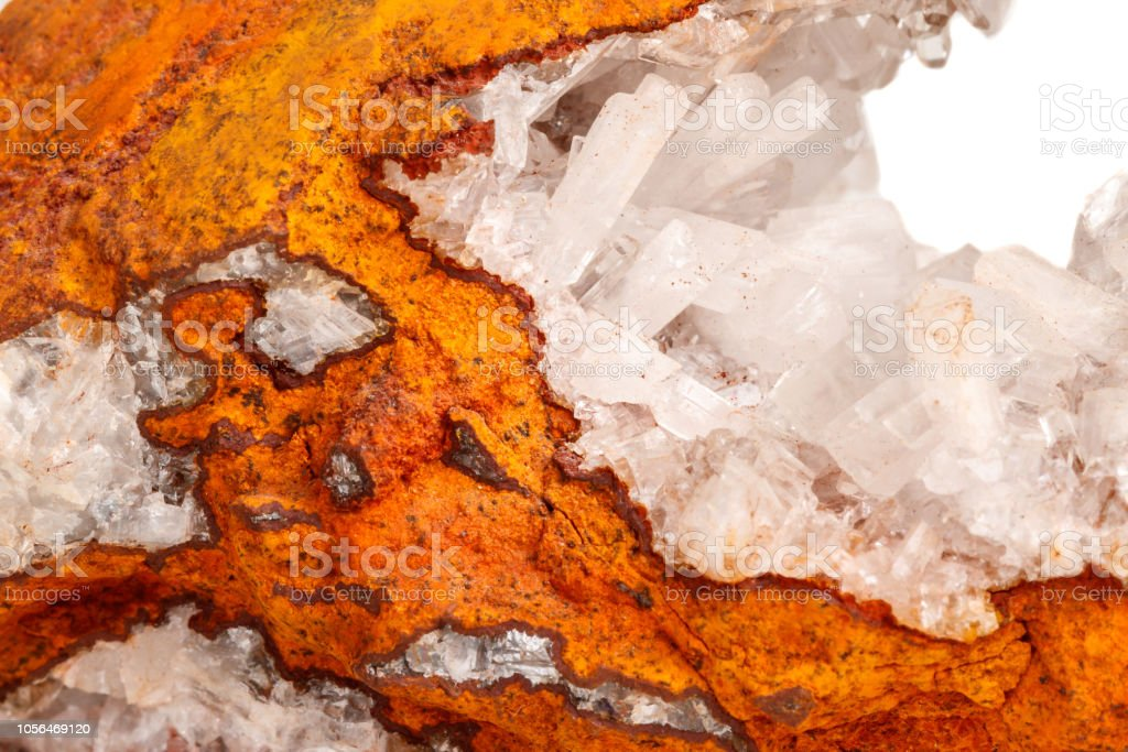 Macro mineral stone crystals Hemimorphite rock on a white background...