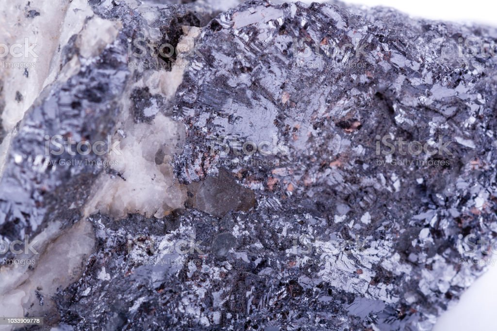 macro mineral stone galena on a white background close up stock photo