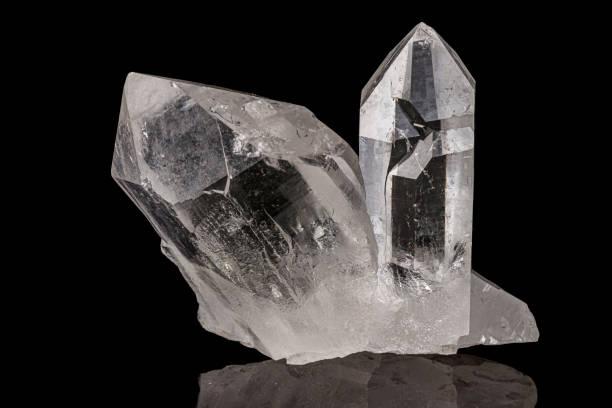 Cтоковое фото Macro mineral stone rhinestone, rock crystal on a black background