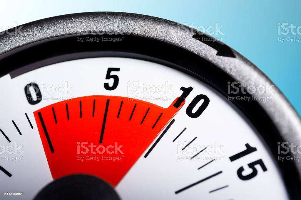 Macro Of A Kitchen Egg Timer - 10 Minutes stock photo