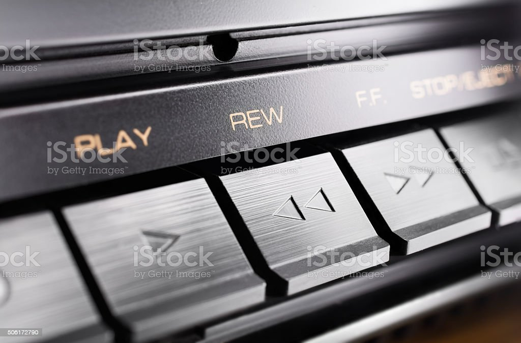 Macro Of A Rewind Button Of An Old Stereo Audio System stock photo