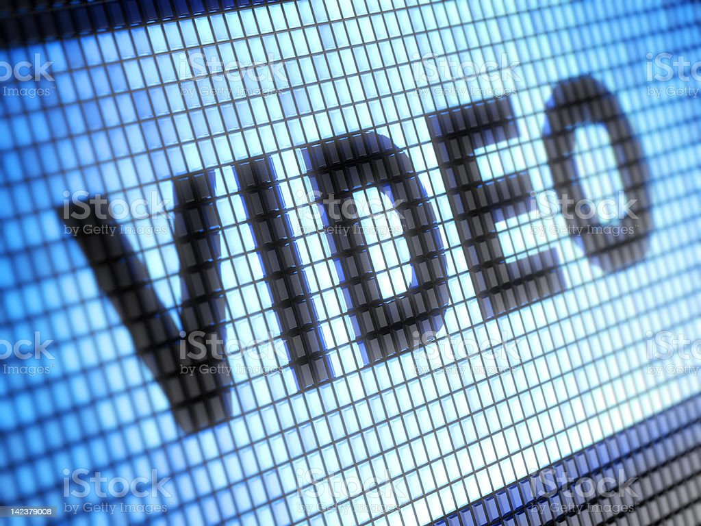 Macro of a screen showing the word VIDEO royalty-free stock photo
