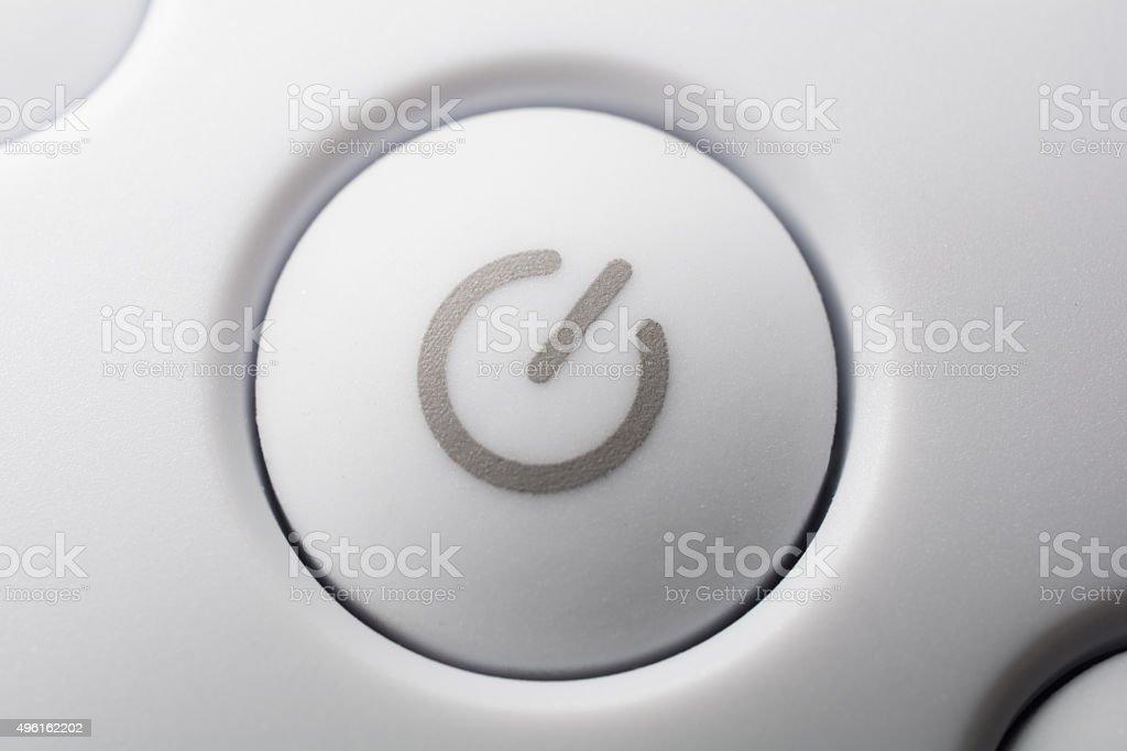 Macro Of A White On - Off Power Button stock photo