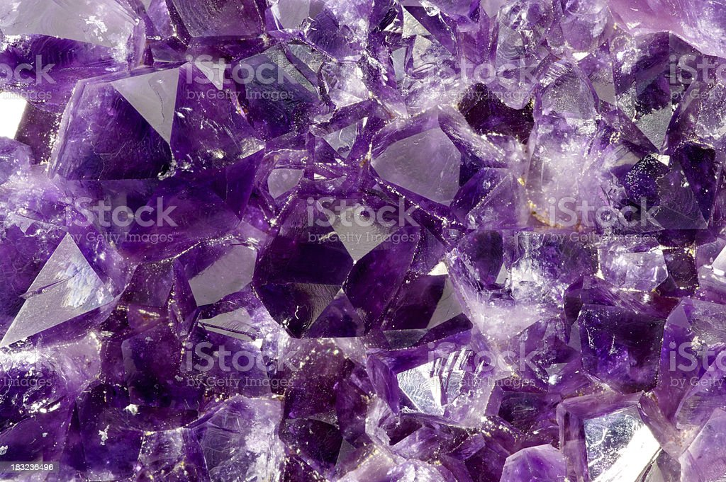 Macro Of Amythyst Crystals Inside A Geode stock photo