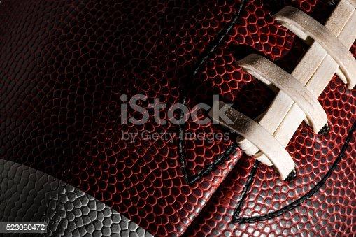 istock Macro of an american football ball 523060472