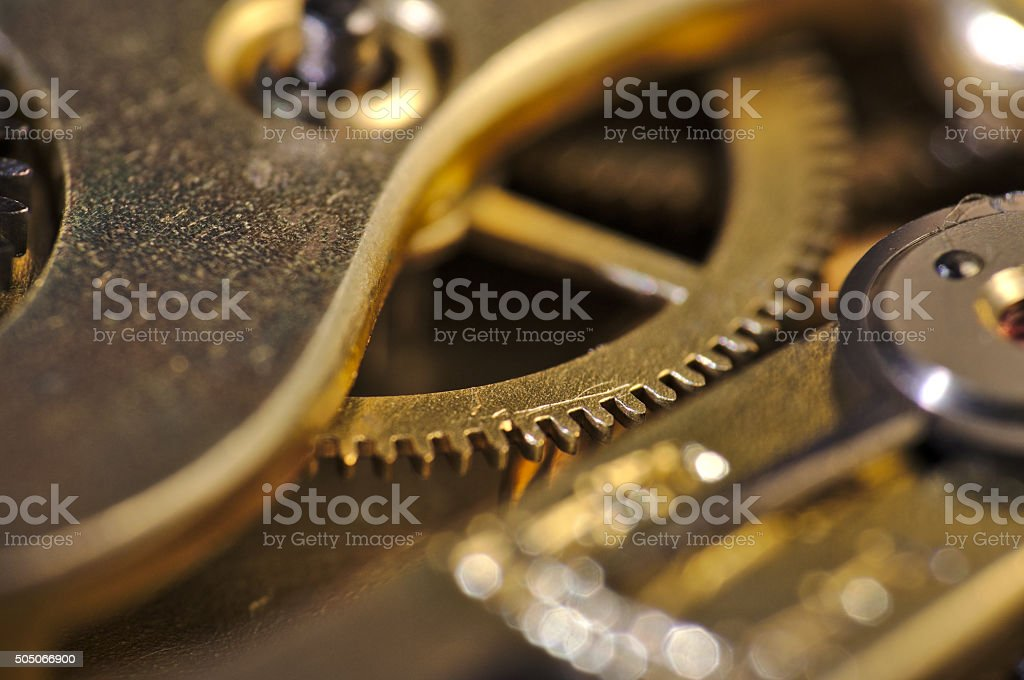 Macro of an old watch internals stock photo