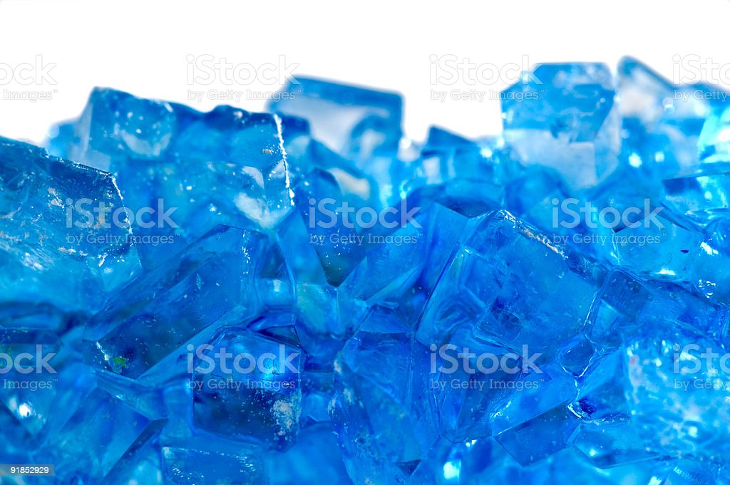macro of blue rock candy stock photo
