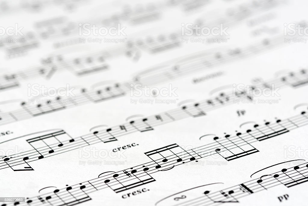 Macro of Classical Musical Sheets stock photo