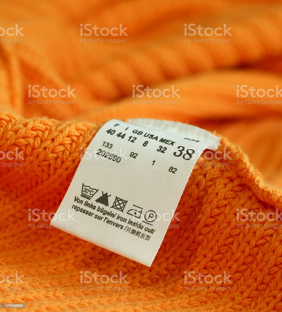 macro of clothing label royalty-free stock photo