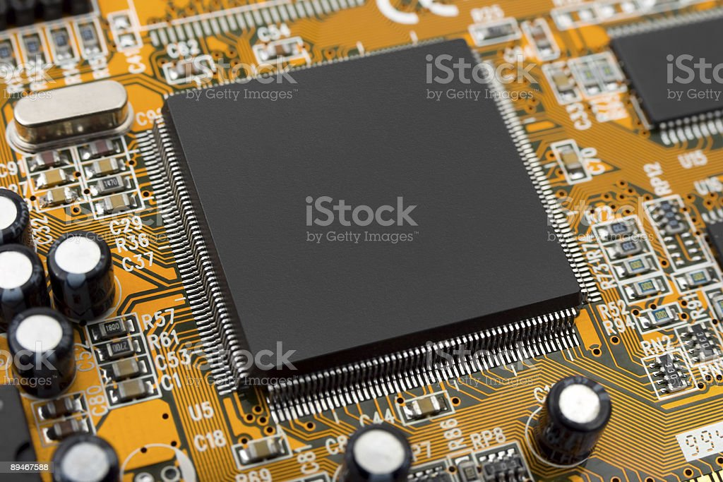 Macro of computer chip royalty-free stock photo