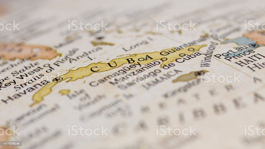 Macro of Cuba on a globe, narrow depth of field stock photo