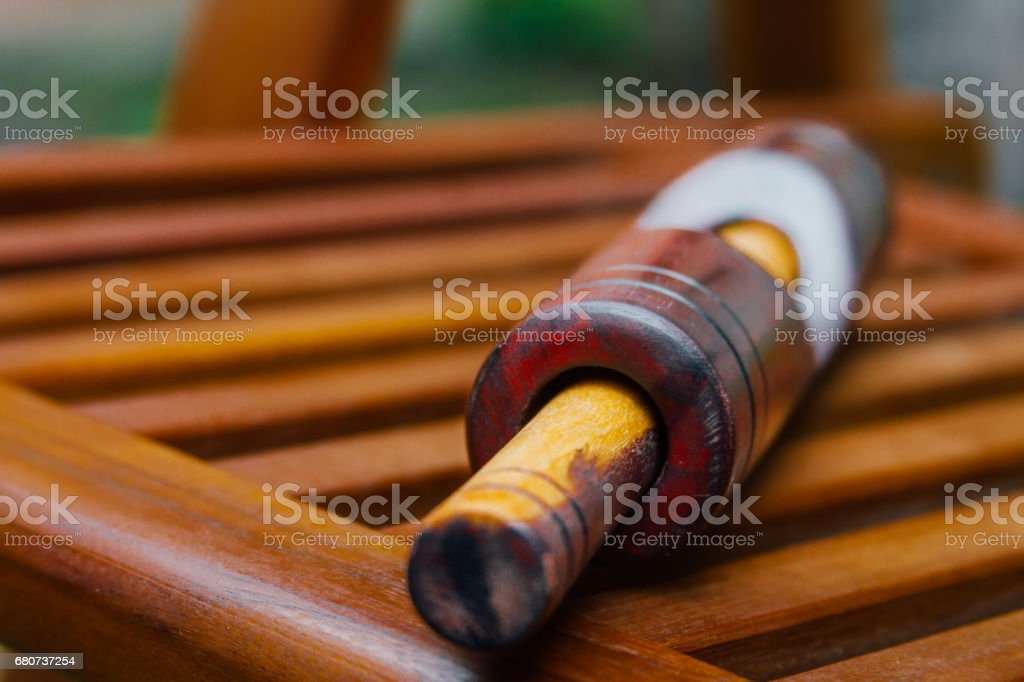 Macro of Cuban key on wooden grill stock photo