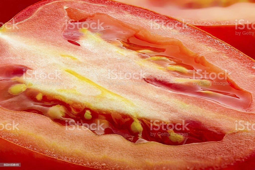 Macro of Cut Tomato stock photo