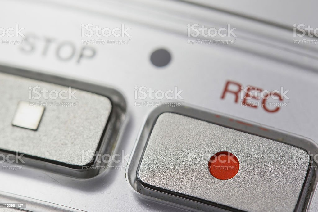 Macro of digital dictaphone stock photo