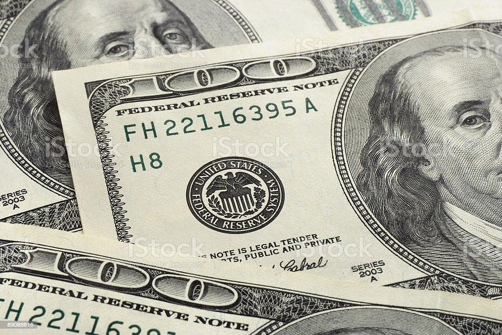 Macro of dollars royalty-free stock photo