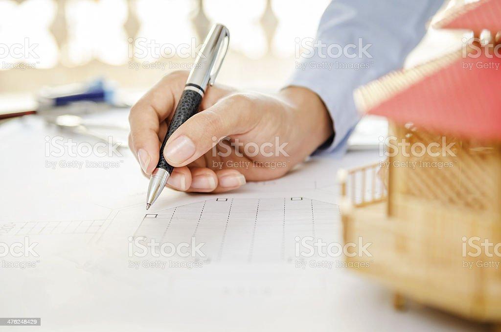 Macro of drawing plan royalty-free stock photo
