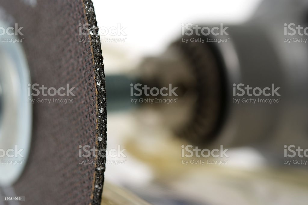 Macro of electric saw with shallow depth of field stock photo