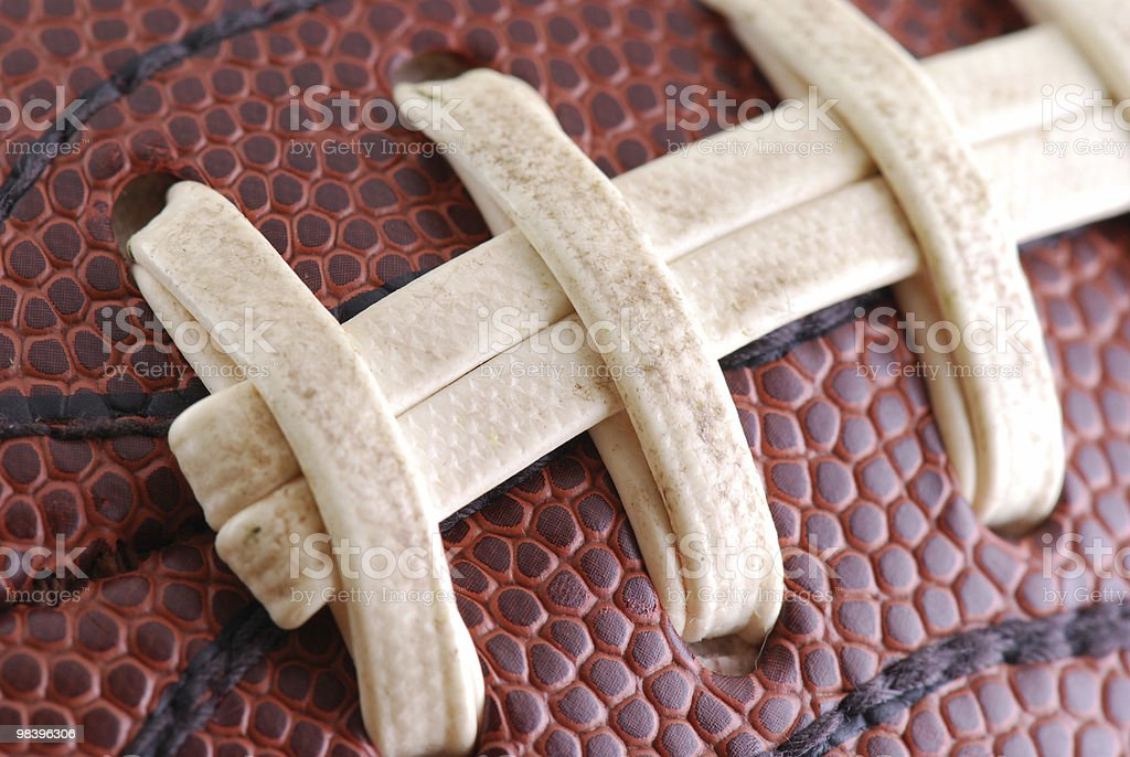 Macro of Football Laces royalty-free stock photo