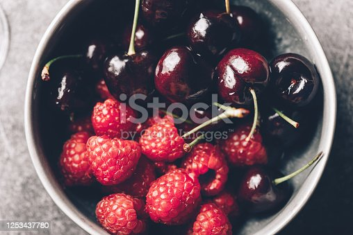 Close up image of fresh raspberries and cherries in the plate, summer concept, background image