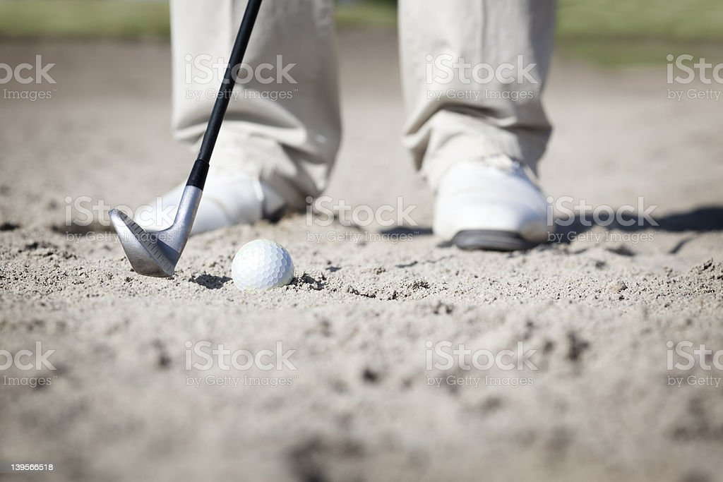 Macro de golf au bunker. - Photo