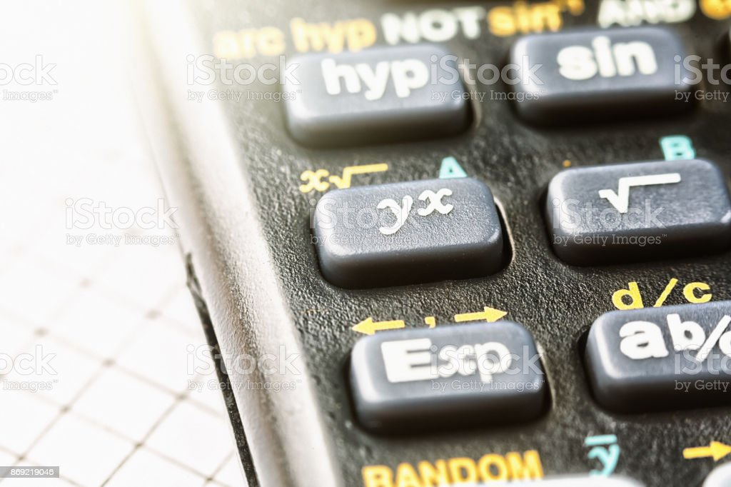 Macro of keypad of sophisticated calculator stock photo
