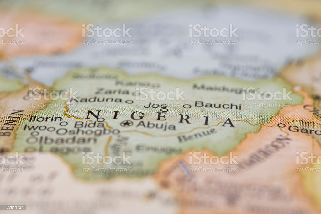 Macro of map of Nigeria stock photo