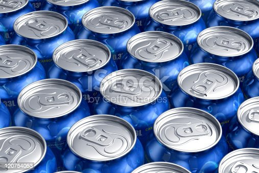 istock Macro of metal cans with refreshing drinks 120754053