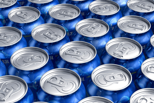 Macro Of Metal Cans With Refreshing Drinks Stock Photo - Download Image Now