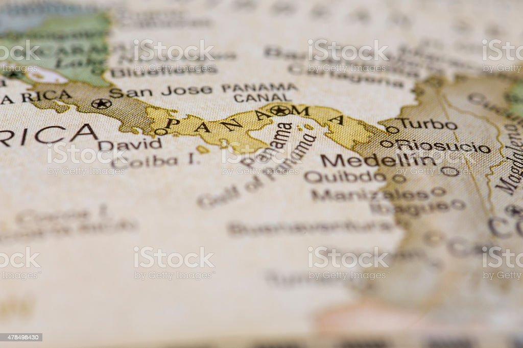 Macro of Panama on a globe stock photo