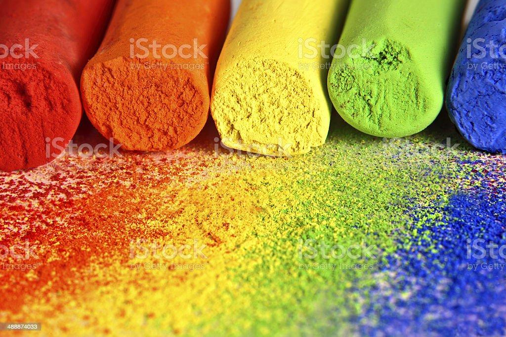 Macro of Pastel Chalk in Rainbow Colors stock photo