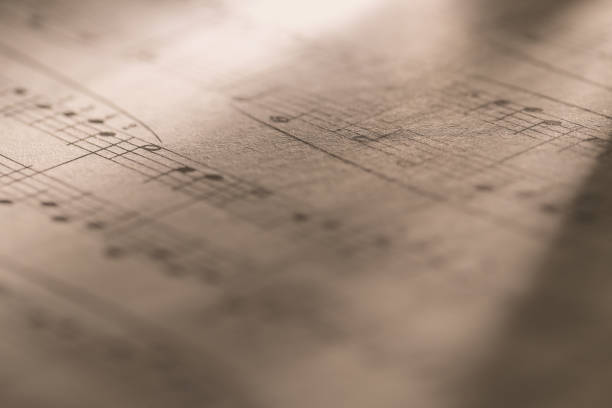 Macro of sheet music stock photo