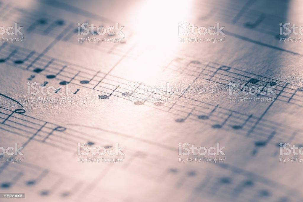 Macro of sheet music stock photo