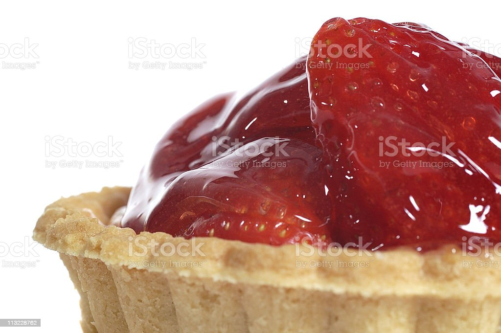 macro of strawberry tartlette against white royalty-free stock photo