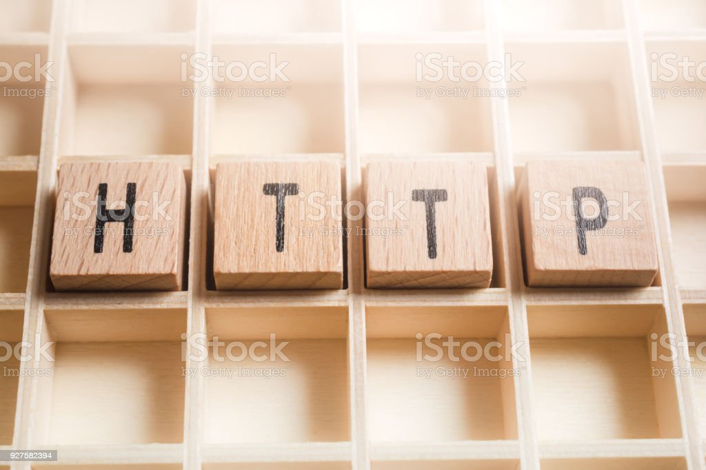 Macro Of The Word HTTP Formed By Wooden Blocks In A Type Case stock photo