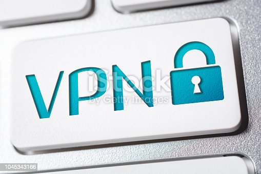 Macro Of The Word VPN With A Lock Security Icon On Keyboard Button