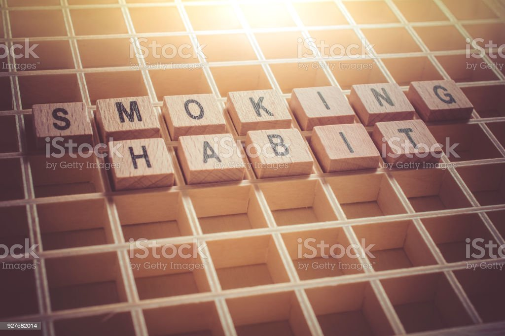 Macro Of The Words Smoking Habit Formed By Wooden Blocks In A Type Case stock photo